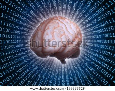 Artificial intelligence concept with binary background - stock photo