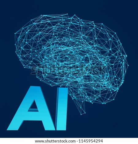 Artificial Intelligence. Human brain with dots, lines and polygons. Futures technology