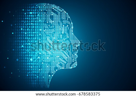 Stock Photo Artificial intelligence. Human head outline with circuit board inside. Technology and engineering concept. 3D Rendering