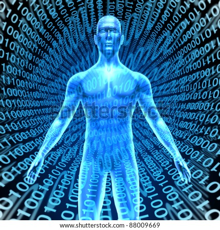 Artificial intelligence showing a human in Cyberspace with digital binary code background as high tech computing technology with a brain function like a talking robot in a smart phones and computers.