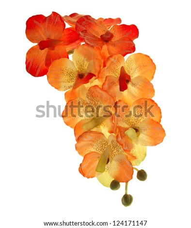 artificial of blossom orchid flowers bouquet isolated on white background