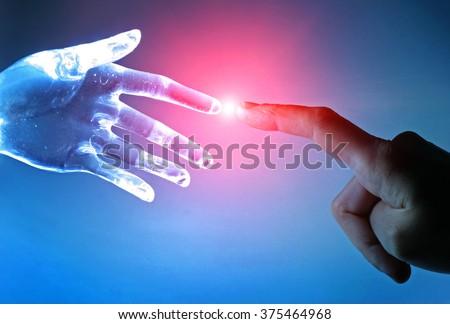 Artificial robot hand touch human hand