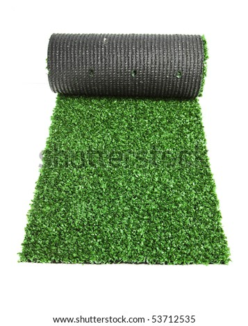 artificial rolled green grass for tennis, isolated on white background