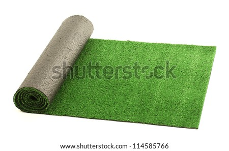 artificial rolled green grass, isolated on white