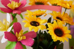 artificial sunflower flowers,bouquet of artificial flowers made of fabric and paper