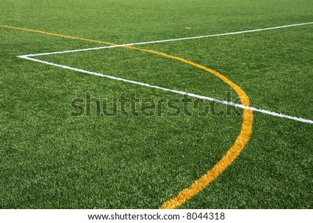 Artificial turf field, showing yellow and white lines