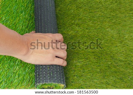 Artificial turf green grass roll replace with hand