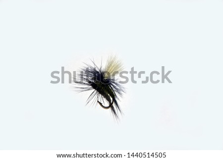 Artificial white and olive dry fly for fly fishing