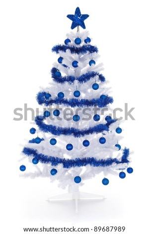 Artificial white christmas tree isolated on white, decorated with blue ornaments and garland