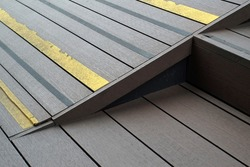 artificial wood stair and ramps for disabled, using wheelchair ramp.