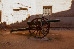 Artillery cannon at the entrance gates of the old town of Belchite, Zaragoza province, Autonomous Community of Aragon, Spain
