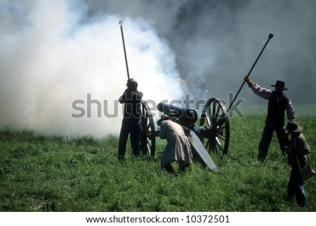 Artillery firing, during		Civil War battle reenactment