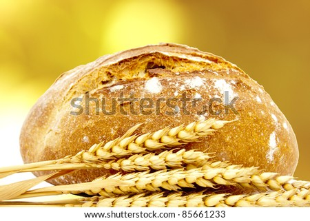 artisan bread and wheat spikes background