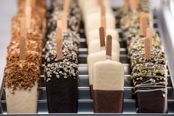 Artisan ice cream on a wooden stick