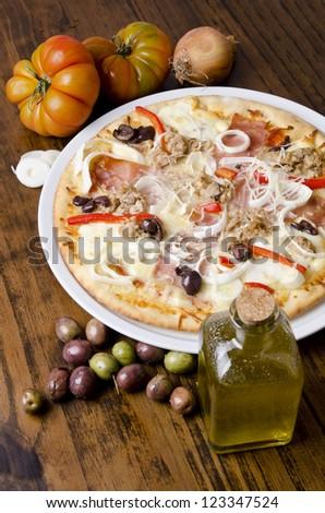 Artisan mediterranean pizza