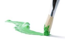 Artist brush and hand drawn green line