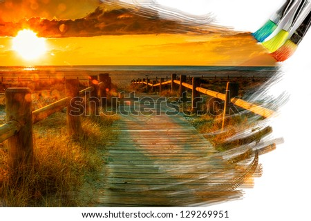 artist brush painting picture of beautiful sunset landscape