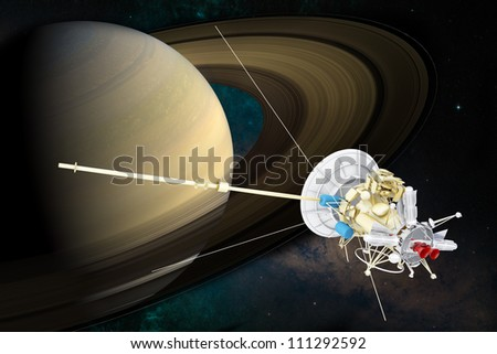 Artist concept of spacecraft at Saturn - 3D Render Maps courtesy of Nasa at http://earthobservatory.nasa.gov/IOTD/view.php?id=885 - stock photo