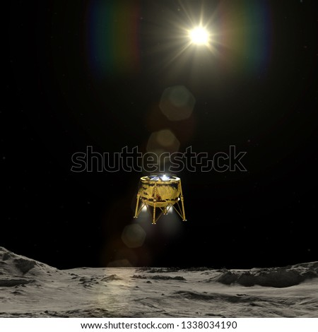 Artist depiction of the first commercial lunar landing spacecraft (3d illustration). Some elements provided by NASA.