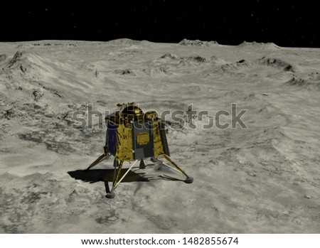 Artist depiction of the the Chandrayaan 2 lunar mission from India. The Vikram lander on the Lunar surface (3d illustration). Some elements provided by NASA.