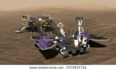 Artist depiction of the Tianwen-1 Mars mission from China. The rover on the surface of Mars. The lander in the background (3d illustration). Some elements provided by NASA. Foto d'archivio ©