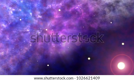 Stock Photo Artist impression of a  multi-color nebula in space showing many stars and purple and blue gases and dust