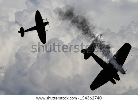 Artist impression of a scene from the battle of Britain that raged in 1940 during World War 2 British fighters attacking German bombers