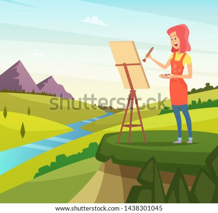Artist in nature making picture. Artist paint brush, paintbrush artistic, painter and easel, illustration