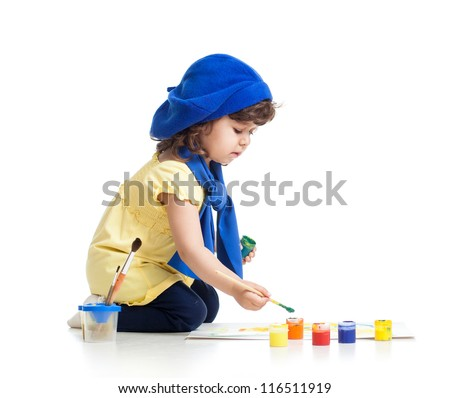 artist kid girl painting over white background