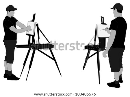 Artist (male) painting