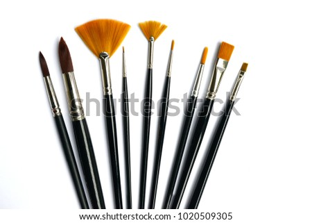 Artist many paintbrushes isolated white background objects the arts