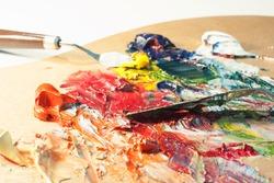 Artist oil colour palette mixing colour with a palette knife beautiful color mix creative art close up micro