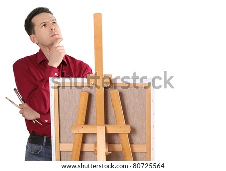 artist painter by the easel thinking isolated