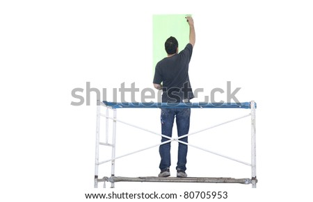Artist painting isolated on white