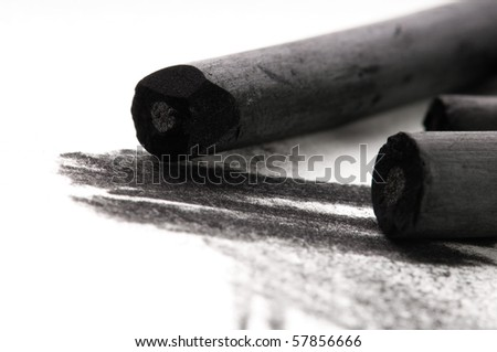 Artist's black charcoal with smudge