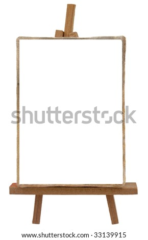 Artist's easel with a blank white canvas.