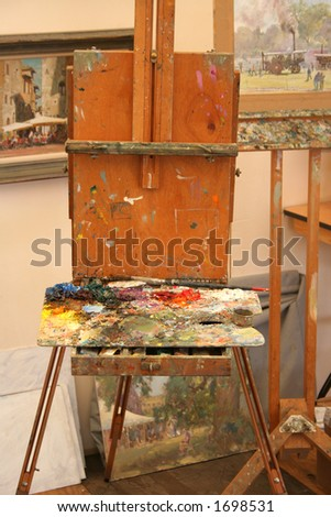 Artist's easel with paint pallette