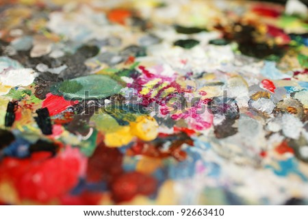 Artist\'s palette with different colours.