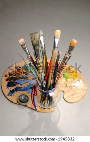 Artist's Palette with jar of brushes over gradient background.