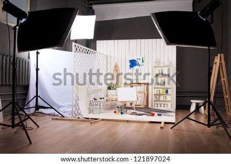 Artist's workshop - stock photo