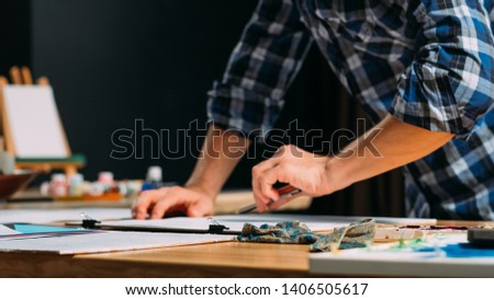 Artist sketching. Painter drawing sketch. Creative imagination inspiration. Talent leisure hobby lifestyle. Man hands closeup. #1406505617