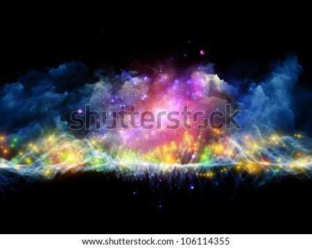 Artistic abstraction on the subject of art, spirituality, painting, music , visual effects and creative technologies  composed of clouds of fractal foam and abstract lights