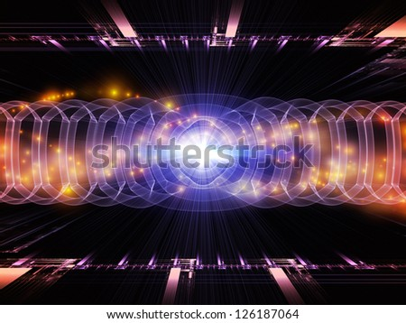 Artistic abstraction on the subject of modern technologies, science of energy, signal processing, music and entertainment composed of fractal grids, lights, mathematical wave and sine patterns