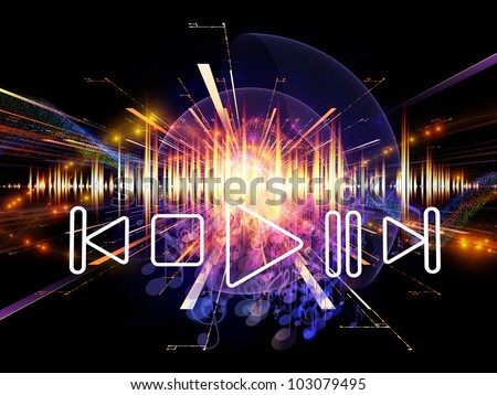 Artistic abstraction on the subject of music, sound equipment and processing, audio performance and entertainment composed of player controls, perspective fractal grids, lights, wave and sine patterns