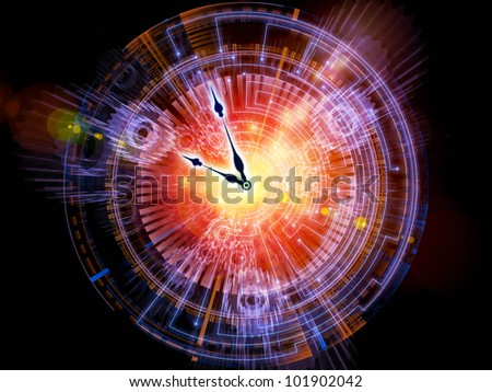 Artistic abstraction on the subject of time sensitive issues, deadlines, scheduling, temporal processes, past, present and future composed of clock hands, gears, lights and abstract design elements