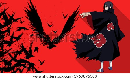 Artistic anime wallpaper with a red background. Itachi Uchiha form naruto.