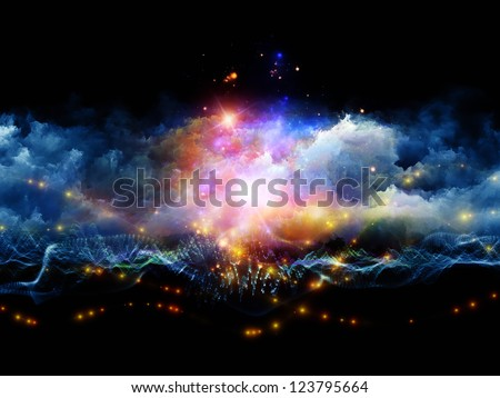 Artistic background for use with projects on art, spirituality, painting, music , visual effects and creative technologies , made of clouds of fractal foam and abstract lights