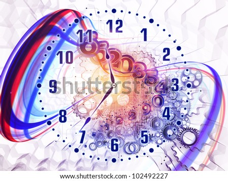 Artistic background for use with projects on scheduling, temporal and time related processes, deadlines, progress, past, present and future, made of gears, clock elements, dials and swirly lines