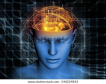 Artistic background made of cutout of male head and symbolic elements for use with projects on human mind, consciousness, imagination, science and creativity