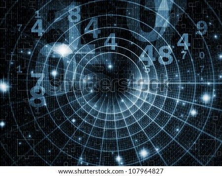 Artistic background made of numbers and abstract design elements for use with projects on modern computing, virtual reality and digital processing